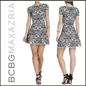 BCBG MAXAZRIA Puckered Jacquard A-Line Dress S/6